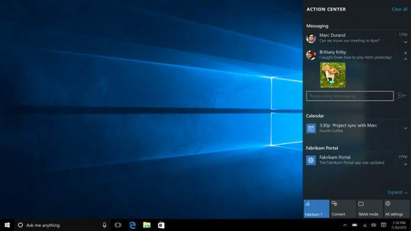 Action Center en Windows 10