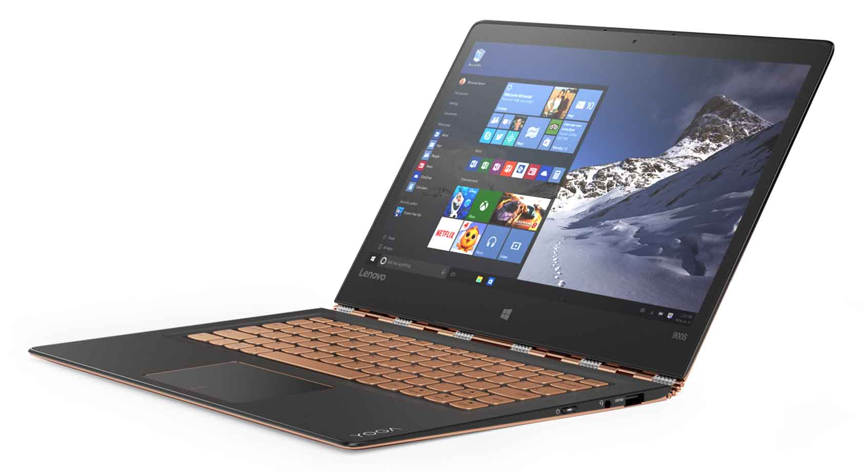 Portátiles ligeros Lenovo YOGA 900S in Gold_Using Windows 10 in Laptop Mode